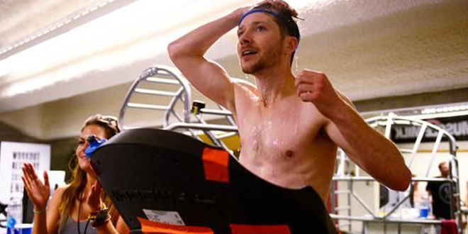 Man breaks record by running 12 hours on a treadmill