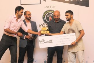 Mustafa Totana (CEO FIT in 5), Faizan S. Syed (CEO HTV), Hishaam Masood, Syed Arbab Hussain (Winner for Best Short Film)