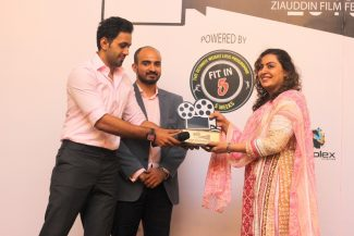 Mustafa Totana (CEO FIT in 5), Faizan S. Syed (CEO HTV), Sister of Haseeb Halai on his behalf for Best Documentary