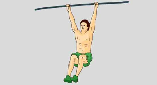 Hanging from a pull-up bar