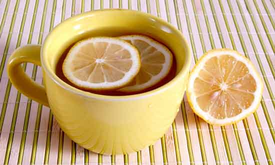 warm water mixed with lemon juice