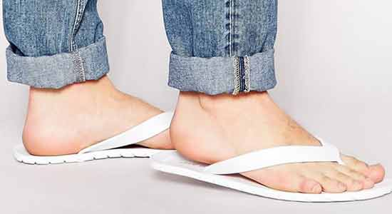 Men's Fashion Mistake 6: Wearing Bathroom Slippers with an Otherwise Well Put-Together Outfit